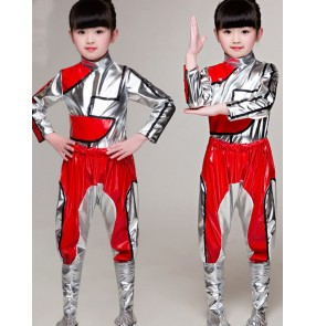 silver with red jazz rap dance costumes for girls boys Children's drum suit Science fiction robot hiphop Children's dance outfits