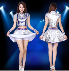 Silver with royal blue leather jazz dance costumes for women girls adult cheerleader DS performance outfits gogo dancers modern dance sequin group dance wear