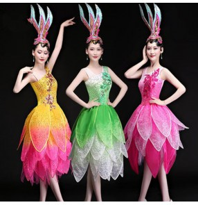 Singer gogo dancers cheer leaders modern dance outfits fairy pink green yellow gradient colored jazz dj performance competition dresses