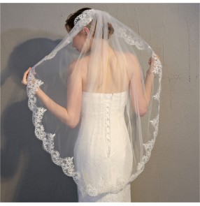 Single-layer wedding party bridal veil lace white ivory tulle veil wedding accessories head scarf for bride