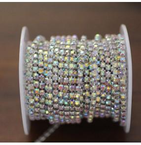 Single row 3mm white AB DIY Crystal diamond chain colorful gem chain rhinestone decoration DIY headscarf bag dance clothing apparel appliques