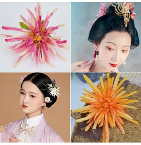 Song ming dynasty princess empress fairy hair accessories chrysanthemum silk flower headdress hairpin Hanfu accessories antique jewelry side clip