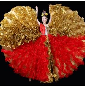 Spanish bull dance dresses for women female flamenco carnival party stage performance singers opening dancing big skirted dresses