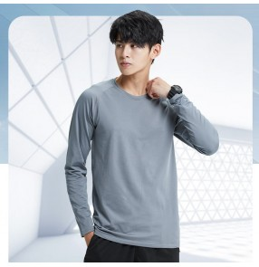 Sports Running T-shirt men's long-sleeved outdoor loose quick-drying clothes running training spring and autumn leisure fitness gyms tops
