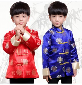 Stage performance boy's chinese traditional tang suit tops kids children stage performance carnival cosplay tops coats