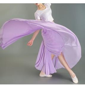 Stage performance Flamenco modern black purple white ballet dance skirt for women girls One-piece classical ballet practice clothes gauze skirt long length skirt lady