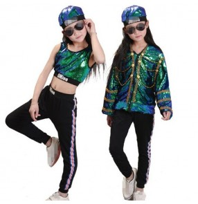 street dance jazz outfits for Kids girls green paillette hiphop stage performance competition singers cheer leaders group dancers show costumes