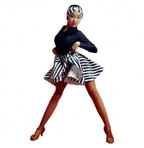 Striped ballroom latin dance dress for girls stage performance children salsa rumba dance costumes dresses
