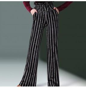 striped ballroom latin dance pants for women female stage performance high waist wide leg swing pants long trousers