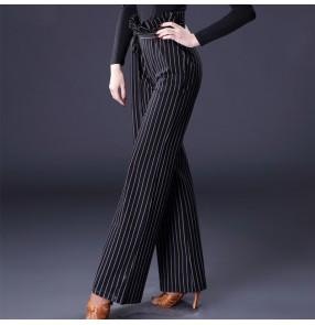 Striped Latin dance pants for female adult flower bud high waist modern dance straight trousers wide leg national standard dance trousers