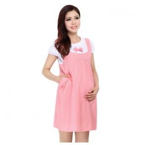 Summer maternity dress short sleeves bowknot pregnancy clothing pregnant women dress