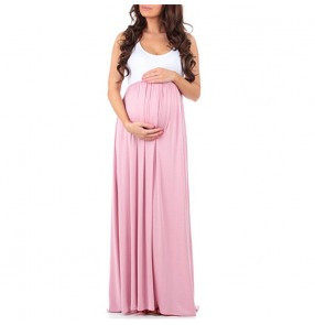 Summer maternity dress sleeveless maxi dresses for pregnant women gown clothing