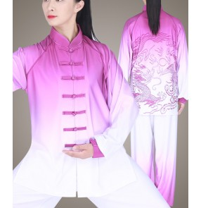 Tai chi clothing chinese kung fu uniforms for women and men dragon pattern chinese martial art wushu performance suit for women