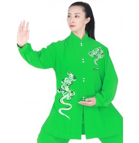 Tai chi clothing chinese kung fu uniforms for women green emboridered dragon pattern tai ji quan wushu martial art stage performance suit for women and men