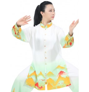 Tai chi clothing chinese kung fu uniforms morning exercises linen material training suit  for women martial art wushu stage performance uniforms for women and men