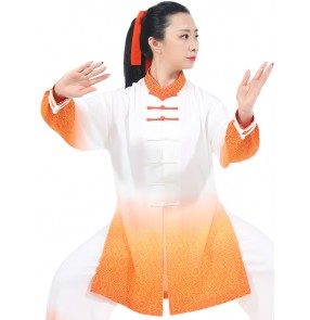 Tai chi clothing chinese kung fu uniforms orange gradient stage performance martial art wushu competition suit for women and men