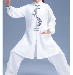 Tai Chi clothing cotton linen kung fu uniforms for unisex martial arts performance competition costumes Morning Zen tea for men and women