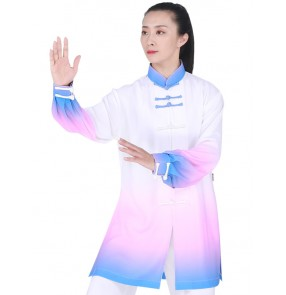 Tai chi clothing kung fu uniforms for women yellow pink blue gradient colored morning running sports fitness exercises martial art stage performance wushu suit for female