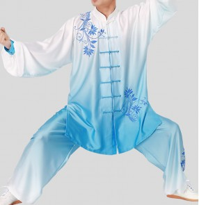 Tai Chi competition clothing blue and white porcelain embroidered martial arts uniforms men and women training kung fu clothing