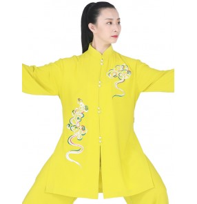 Tai chi uniforms kung fu clothing for women yellow emboridered dragon pattern chinese martial art wushu tai ji quan stage performance tops and pants for women