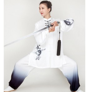 Taichi Chinese Kung fu clothing for women men white black gradient competition wushu martial art performance suit moring exercises fitness tai ji quan practice costumes