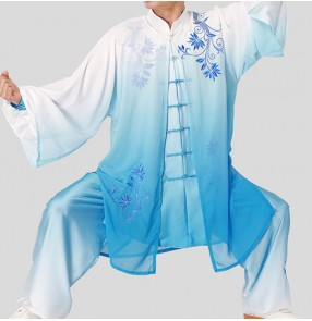 Taichi kungfu uniforms for women and men wushu competition three-piece veil blue and white gradient martial arts clothing