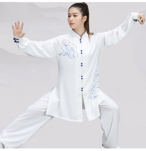 Taichi kungfu uniforms for women Hand-painted stretch cotton Chinese style wushu practice morning exercise uniforms martial arts performance clothing