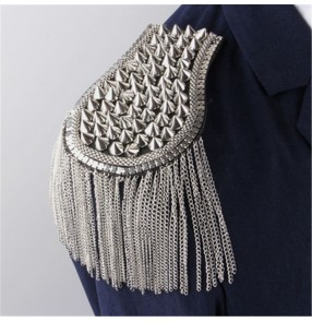 Tassel fashion  rivet tassels epaulette for adult kids blazers coats shoulder accessories jazz dance stage performance model show photos shooting epaulette