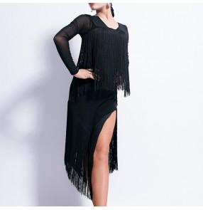Tassels latin dance dresses for girls women female competition stage performance samba rumba salsa chacha dance dress skirt