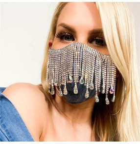 tassels rhinestones fashion black reusable face masks for women night club stage performance photos video shooting belly dance bling veil masks for female