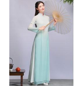 Tea Dresses green gradient chinese qipao dresses Female Zen Literary women Chinese Zen Clothes Female Vietnam Ao Dai cheongsam fairy dress