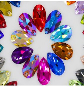 Tears shape crystal diamond rainbow colored hand sewn stones for ballroom latin competition dresses wedding dress shoes bag garment rhinestones accessories 5pcs