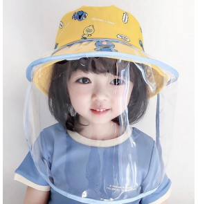 Toddles anti-droplet saliva cartoon fisherman hat sun cap with face shield dust proof sun protection cap for kids