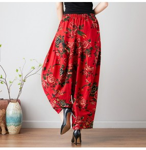 Traditional Chinese bloom pants for women female floral pattern loose square dance swing leg trousers linen long pants