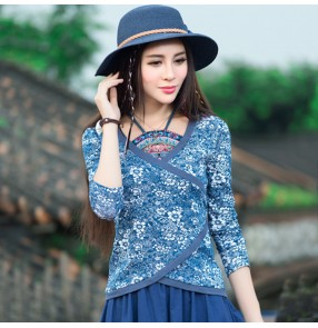 Traditional Chinese cheongsam qipao dresses tops for women female printed floral shirts for female