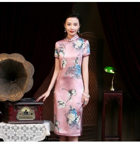 Traditional chinese dresses oriental retro qipao dresses evening party banquet floral  miss etiquette cheongsam dress for women
