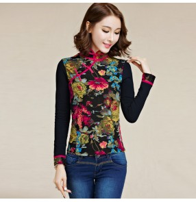 Traditional Chinese qipao dress tops women's plus size Tang suit floral long sleeves shirts