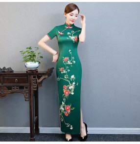Traditional chinese qipao dresses dark green Women's chinese dresses oriental stage performance model drama cosplay dresses