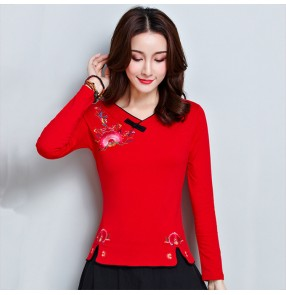 Traditional chinese Qipao tops for women retro embroidered pattern long sleeves  blouses t shirts