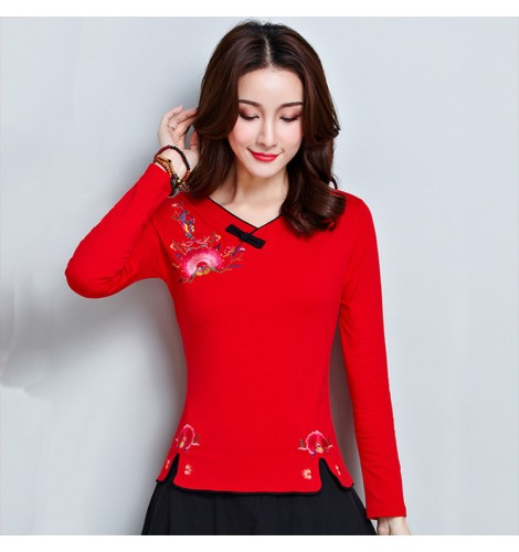 5b9b6e5892a305 Traditional chinese Qipao tops for women retro embroidered pattern long  sleeves blouses t shirts