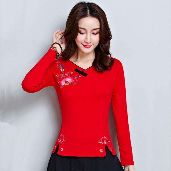 Retro Womens Chinese Embroidery 3//4 Sleeve Qipao Tops Casual Blouses Shirts New