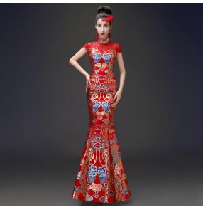 Traditional red dragon chinese dresses retro qipao dress bride chinese wedding party merimaid dress