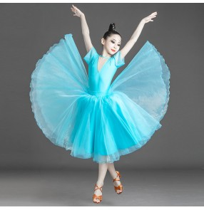 Turquoise ballroom dance dress for girls kids waltz tango latin ballroom dance costumes for children