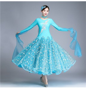 Turquoise girls waltz ballroom dancing dresses competition professional women female tango dance dresses