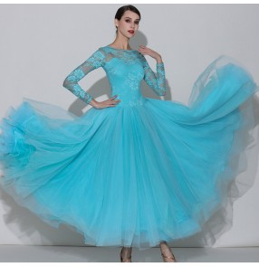 Turquoise light pink women's female lace ballroom dancing dresses girls waltz tango dance dresses