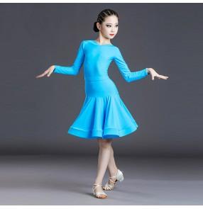 Turquoise long sleeves ballroom latin dance dress for girls kids salsa rumba dance dress latin dance costumes
