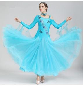 Turquoise violet green Ballroom Dance Dresses Standard Stage Costume Performance women Smooth Ballroom Dress Modern Waltz Tango