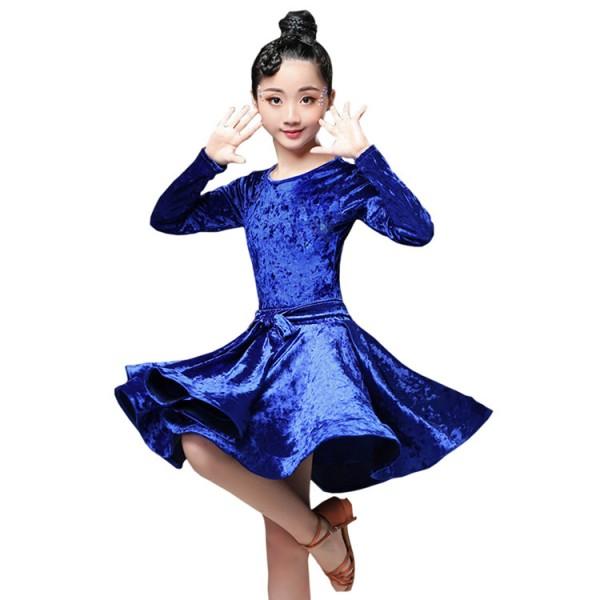 151a39d24 Velvet ballroom dresses latin salsa chacha rumba dance dresses for ...