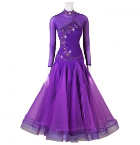 Violet competition ballroom dancing derss for women girls stage performance long sleeves stage performance waltz tango dance dress for female