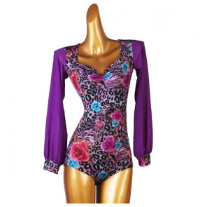 Violet floral latin ballroom dancing bodysuits stage performance salsa chacha rumba dance catsuits latin dance jumpsuits for female